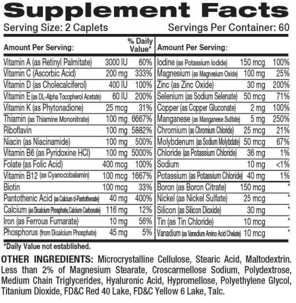 DYMATIZE SUPER MULTI – 120 CAPSULES Supplements Facts
